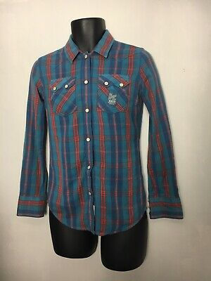 SuperDry Blue Check Fannel Shirt Ladies XS Great Condition Thick Brushed Cotton