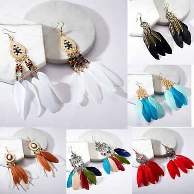2019 Fashion Long Tassel Feather Boho Earrings Drop Dangle Ethnic Jewelry Women