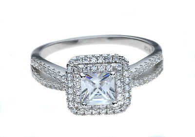 Princess Engagment Ring with Halo | Rhodium Plated 925 Sterling Silver & CZ