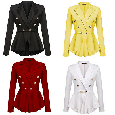 Women Business Blazer Solid Suit Slim Fit Casual Jacket Coat Button Outwear Tops