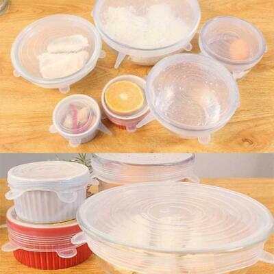 6pcs Super Stretch Lids Silicone Bowl Covers Food Covers Lids Easy Fit Univ V6S5