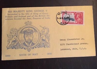 1935 Silver Jubilee First Day Cover With Hubbard Cachet Barbados-Ohio USA