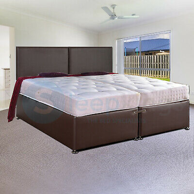 6ft ORTHO SOURCE 5 ZIP AND LINK DIVAN BED IN FAUX BROWN LEATHER