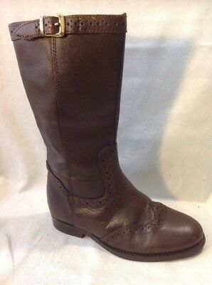 Girls Tu Brown Leather Boots Size 12