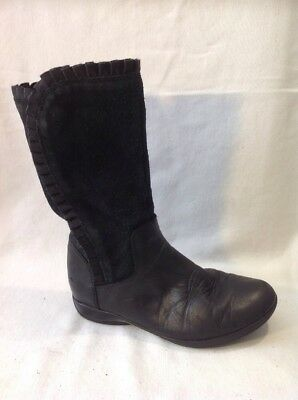 Girls Clarks Black Leather Boots Size 11G