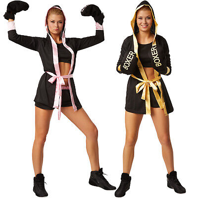 Ladies UK 8-16 Knockout Boxing Fancy Dress Costume Womens Boxer Fighter Outfit