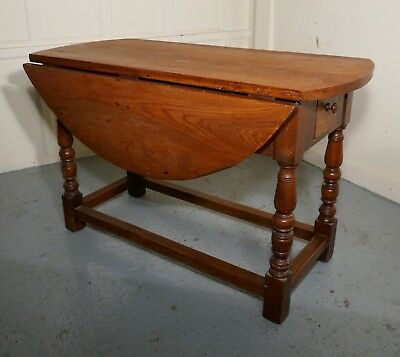 French Country Elm Drop Leaf Table, Kitchen Dining Table