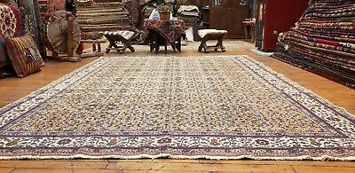 Exquisite 1930-1940s Antique Muted Dyes Wool Pile Legendary Hereke Rug 7x10ft