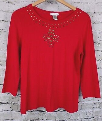 Laura Ashley Womens Top Size S Red Stud Embellished 3/4 Sleeves Soft Stretchy