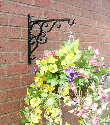 HANGING BASKET BRACKET HAND FORGED HEAVY DUTY SCROLL 14ins