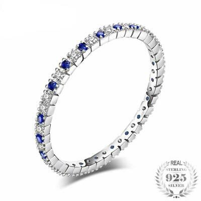 Exquisite Round Created Blue Spinel Wedding Band Ring 100% 925 Sterling Silver