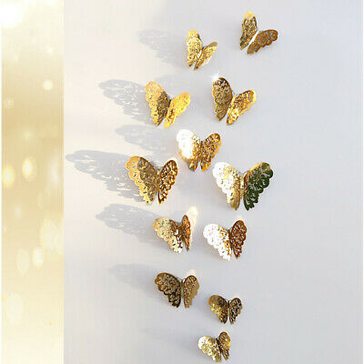 12 Pcs 3D Hollow Wall Stickers Butterfly Fridge For Home Decoration Wedding Home