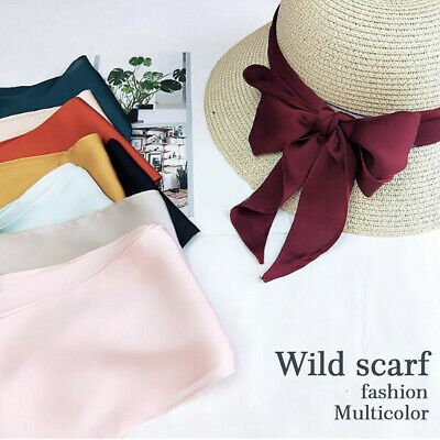 Soft Ribbon Silk Scarf Neck chief Hair Hat Strap Band Bag Handle Wraps Wide