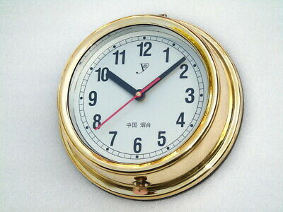 Brass Vintage Large 8 Inch Yantai Cz-01 Ships Boat Yacht Quartz Clock Watch