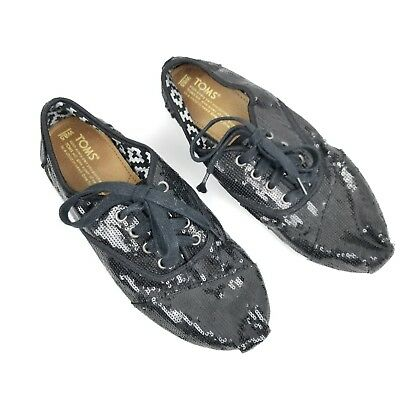 0f1fef50e59 Toms Womens Sz 8.5 Flats Oxfords Lace Up Sequin Sneakers Black Slip On Laces