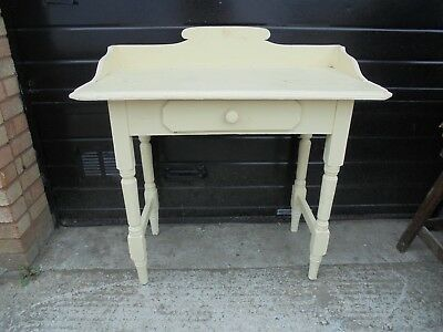 Vintage Shabby Chic Rustic Painted Pine Washstand with Drawer