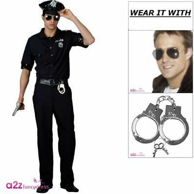 Mens New York Cop Costume + Hat  NYPD Police Officer Uniform Fancy Dress Outfit