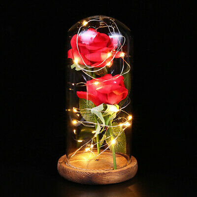 Beauty And The Beast Enchanted LED Pink Rose Glass Dome Lighted Home Decor Gifts