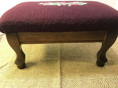 Antique Footstool Floral Needlepoint Rectangular Wood Frame Queen Ann Legs