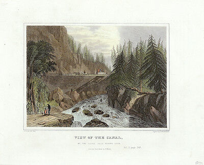 WG WALL Antq 19thC c1831-34 Engrav VIEW OF THE CANAL, LITTLE FALLS MOHAWK RIVER