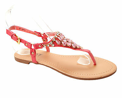 bab515783812 Womens Pink Diamante Jewel Toe Post Summer Beach Flat Sandals Ladies Uk Size  3-8