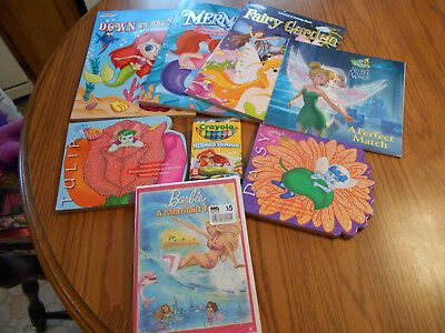 Mermaid Fairy gift pack color book, book, sparkle crayons, Barbie dvd - NEW