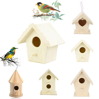 Wooden Bird House Nesting Box Hanging Hook Bird Nest Home Garden Decoration CC