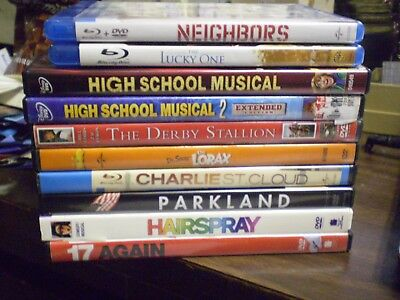 (10) Zac Efron Blu-Ray/DVD Lot: Disney HS Musical  Derby Stallion  The Lucky One