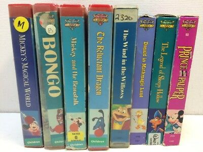 DISNEY Lot of 8 Kids (VHS) Video Tapes MINI CLASSICS Mickey Beanstalk Pauper