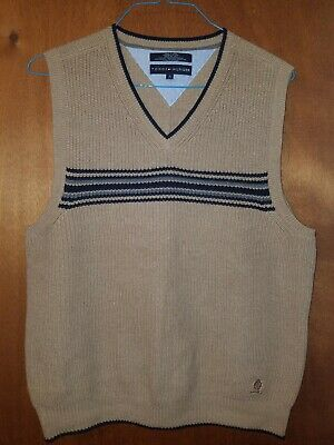 cdda62c784c TOMMY HILFIGER Vintage Men s M Sweater Vest Khaki Black Grey Stripe Cotton
