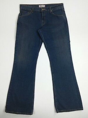 Women's Levi Strauss Signature Stretch Blue Jeans Size 12 Low Rise Zip Up 35X31