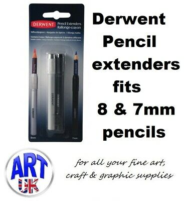 Derwent Artists Pencil Extenders Set of 2 8mm & 7mm for Drawing & Sketching
