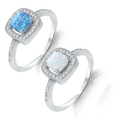 Blue or White Fire Opal Princess Clear CZ Halo Sterling Silver Ring