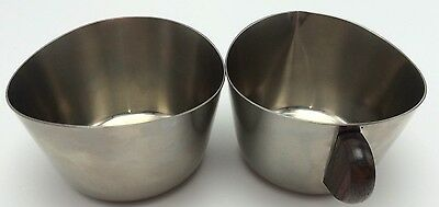 STELTON Danish MCM Stainless & Teak 18/8 Cream & Sugar Dressing Condiments VGUC