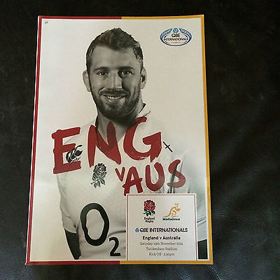 ENGLAND v AUSTRALIA 2014 RUGBY UNION AT TWICKENHAM (COVER PRICE £6)