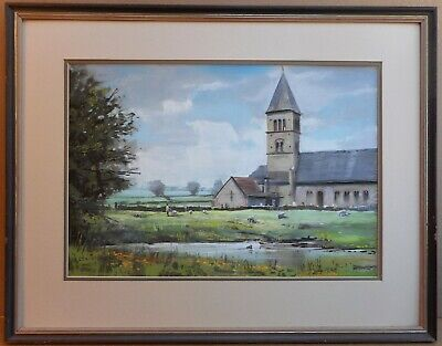 Village Church. Pastel by listed artist Christopher Assheton-Stones PS 1987