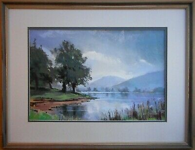 Lake District view. Pastel by listed artist Christopher Assheton-Stones PS 1991