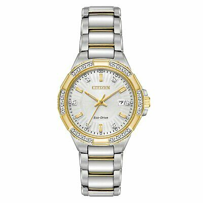 NEW Citizen Eco-Drive Women's EW2464-55A Riva Diamond Accents Two-Tone Watch