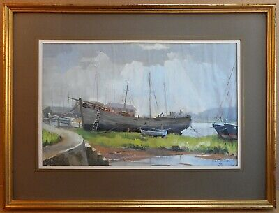 Dell Quay Chichester Pastel by listed artist Christopher Assheton-Stones PS 1978