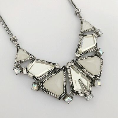 "Chico's Antique Silver Tone Resin,Cut Crystal 16""-19"" Necklace"