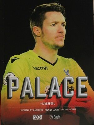 CRYSTAL PALACE v LIVERPOOL 31/03/2018 OFFICIAL MATCH-DAY PROGRAMME MINT FREE P&P