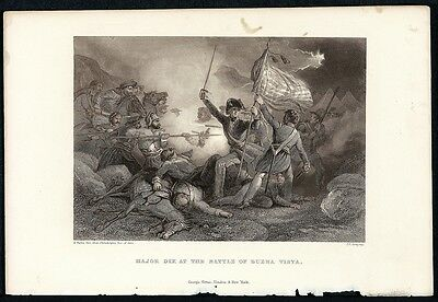H. WARREN Antq 19thC 1856 Steel Engraving MAJOR DIX AT THE BATTLE OF BUENA VISTA