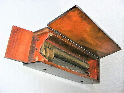 """""""ANTIQUE ROSEWOOD KEY/LEVER WIND 6-AIR CYLINDER MUSIC BOX WITH 13"""" COMB c1800s"""","""