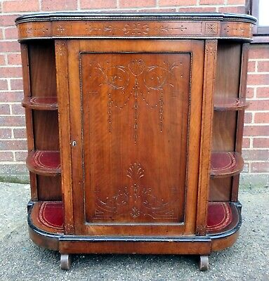 Victorian antique walnut gilt leather demi lune credenza bookcase cabinet
