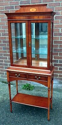Georgian antique style inlaid yew wood Bradley mirroed display bookcase cabinet