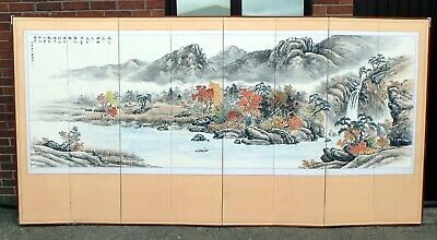Chinese antique Republic period hand painted paper silk big room divider screen