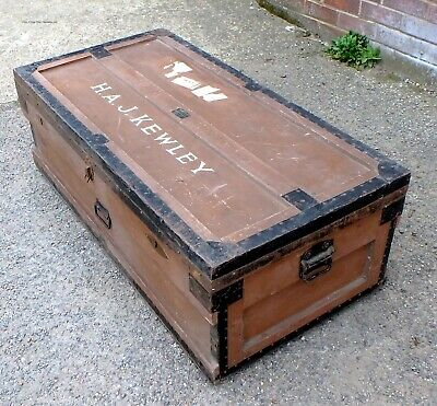 Edwardian antique military army Flights Ltd sipping cabin trunk box coffee table