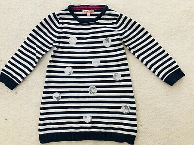 Baby Girls Blue Striped Knitted Dress Age 18-24 months from Debenhams