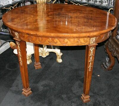 Fine Burr Walnut Carved Gilt Oval Centre Table c.1860