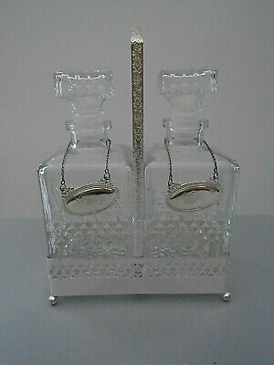 Vintage Pair Of Square Spirit Decanters  Carriage & Sherry Whiskey Labels